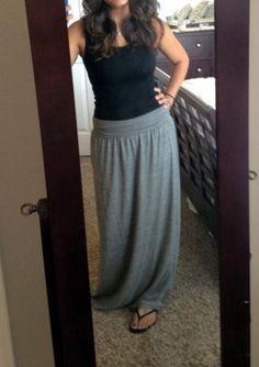 Tank & grey maxi skirt.