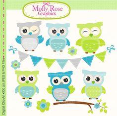 SALE owls clip art, Digital Clip Art owls, bunting, flowers branch clip art, Invitations, M.54 INSTANT DOWNLOAD
