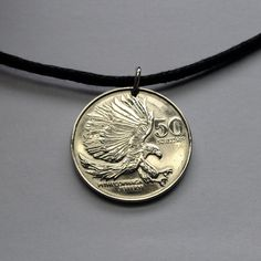 1986 Philippines 50 sentimo coin pendant necklace jewelry Monkey-eating eagle bird attacking Pilipinas national symbol animal No.000592 by acnyCOINJEWELRY on Etsy
