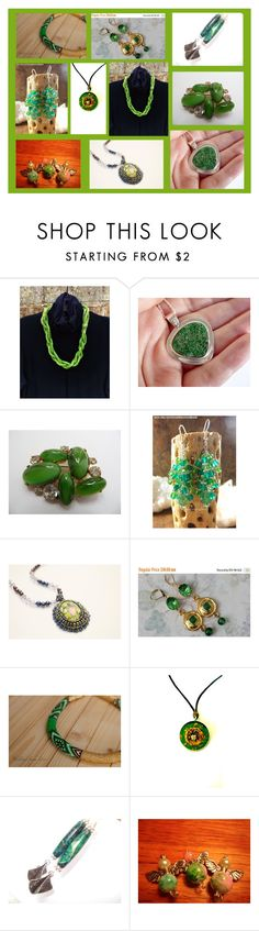 """Unique Handmade Jewelry in Green"" by polinakaranda ❤ liked on Polyvore"