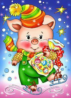 Miro a Janka, prajeme Vám šťastný a úspešný nový rok. Milka a Igor. Christmas Pictures, Christmas Art, Vintage Christmas, This Little Piggy, Little Pigs, Illustration Noel, Illustrations, Art Mignon, Image Digital