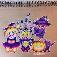 Best Halloween Pokémon Art images.  #halloween #pokemon Pokemon Tattoo, Pokemon Fan Art, My Pokemon, Cool Pokemon, Pokemon Halloween, Cute Animal Drawings, Cool Drawings, Pokemon Mignon, Pokemon Pictures