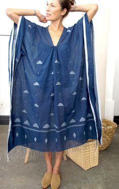 Indigo caftan with tassel