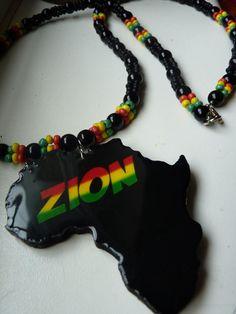 ZION+Africa+Nyabinghi+Rastafari+necklace+with+Black+by+Royalnatty,+$38.00