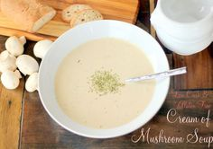 """""""Healthified"""" Cream of Mushroom Soup - button mushrooms, lemon juice, butter/coconut oil/bacon fat, minced shallots, roasted garlic head, dried thyme, bay leaf, Celtic sea salt, fresh ground pepper, cream cheese/avocado, bone broth (might sub another broth/stock)"""