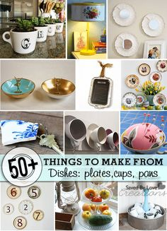 55 Things to make from Recycled Dishes diy and crafts upcycle Upcycled Home Decor, Repurposed Items, Upcycled Crafts, Diy Home Decor, Repurposed Furniture, Recycled Decor, Refurbished Furniture, Industrial Furniture, Diy Arts And Crafts