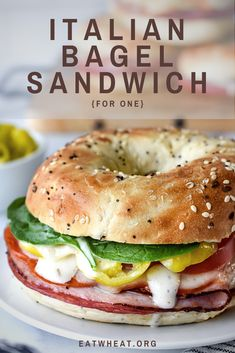 Hot Sandwich Recipes, Healthy Sandwiches, Sandwiches For Lunch, Lunch Recipes, Cooking Recipes, Healthy Bagel, Healthy Food, Healthy Eating, Yummy Food