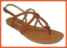 f7c4b8937 Elegant Women s Fashion Braided Strap Gladiator Thong Flat Sandals Camel  Color 6