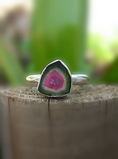 Watermelon Ring, Tourmaline Ring, Tourmaline Engagement,Tourmaline Slice,Watermelon Slice, Tourmaline Promise Ring, Bi Color Tourmaline by INNOCENTIJEWELRY on Etsy