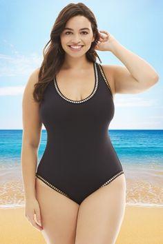 300d31b2b734e La Blanca Black Plus Size Cross-Back One Piece Swimsuit. Plus Size  SwimsuitsTwo ...