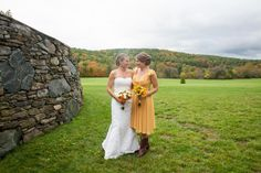 Mother and daughter at the great stone wall at the Historic Barns of Nipmoose. Andrea Casey Photography