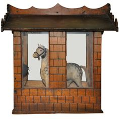 Danish handmade wooden toy stable and horse