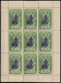 Belgian Congo - Type Mols 5 F, in zwart en groen (velletje van 9) met perforatie en opdruk Waterlow & Sons + Specimen in het blauw, * in de rand, met fotocertificaat, zm.    Dealer  Van Looy Stamp Auctions    Auction  Minimum Bid:  200.00EUR