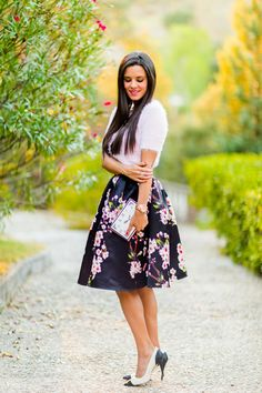 Summer Style 2015 New Skirts Womens Fashion European And American Style Adjustable High Waist Pleated Skirt Floral Print Skirt Mode Outfits, Skirt Outfits, Dress Skirt, Street Look, Street Style Looks, Street Wear, Midi Skater Skirt, Midi Skirts, Pleated Skirt