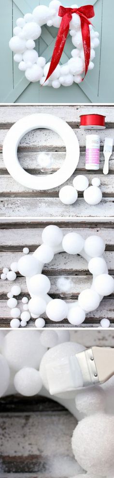 How to Make a Snowball Wreath | Click Pic for 20 DIY Christmas Wreaths for Front…