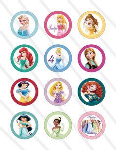 Fiesta de cumpleaños de princesa de Disney 2 pulgadas de la magdalena de encargo del partido Imprimibles digitales Toppers Favor Circles