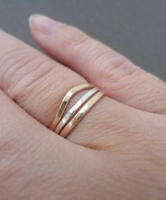 Slim Stacking Rings Skinny 14K Gold Filled Rings Two by BeaJewelry, $35.00