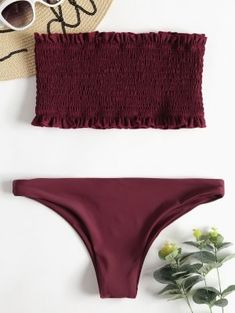 [HOT] 2019 Ruffle Smocked Bandeau Bikini Set In RED WINE The stretchy strapless style comes in pretty ruffles trim, while the allover ruches add a carefree touch, meanwhile, the matching bottoms ar… Trendy Swimwear, Cute Swimsuits, Cute Bikinis, Swimwear Fashion, Women Swimsuits, Vintage Swimsuits, Bikini Fashion, Swimwear Sale, Summer Bathing Suits