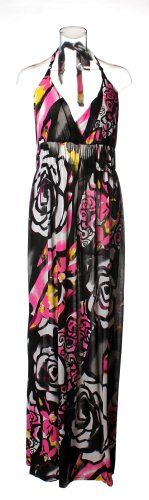 72918R-Fuchsia-2X PLUS SIZE Halter Top Maxi Dress / Cover-up in Silky 'ITY' Fabric with Shirred Elastic Empire Waist and Bold Floral Print in Fuchsia Size: 2X. From #Curve Appeal. List Price: $38.00. Price: $19.50