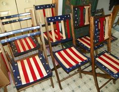 red, white, and blue patriotic painted vintage wooden folding chairs. Painted Folding Chairs, Kids Folding Chair, Painted Wooden Chairs, Fold Up Chairs, Compact Table And Chairs, Fire Pit Table And Chairs, Shabby Chic Table And Chairs, Scandinavian Dining Chairs, Modern Dining Chairs