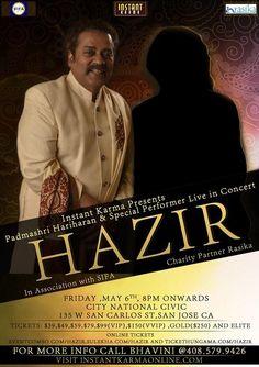 Hazir: Padmashri Hariharan and Surprise Performer Live in Concert on EkNazar Events