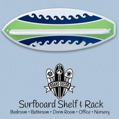 Surf's Up surfboard shelf & surfboard rack with wave stripe design is sure to add a wave of color to your surf theme bedroom, nursery or beach bathroom. This surfboard wall decoration & accessory is 2 products built into one, it's a Surfboard Shelf and Surfboard Rack. The shelf is great for displaying your favorite knick-knacks and...