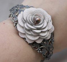 Flower bracelet leather bracelet floral cuff by Leatherblossoms, $30.00