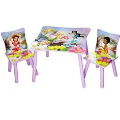 Disney TinkerBell Fairies Table And Chair Set In Solid Wood Construction, Decorated With Fairy Designs in Pastel Colors Disney Playroom, Playroom Decor, Playroom Ideas, Kids Table Chair Set, Kid Table, Toddler Table, Toddler Girl, Tinkerbell Fairies, Disney Fairies