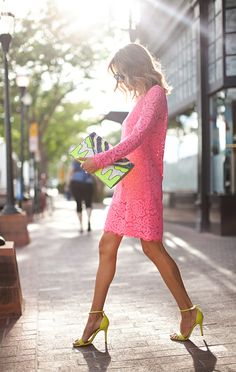 Pink lace dress with yellow color pop. Love the fun clutch purse!