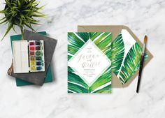 JARAUX SUITE // Botanical Tropical Plam Leaf Save the Date, Banana Leaf, Beach Wedding, Destination Wedding, Wedding Invitation