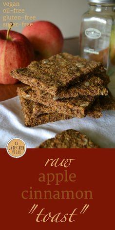 "Gluten-free, sugar-free, oil-free Raw Apple Cinnamon ""Toast"" by An Unrefined Vegan."