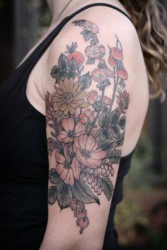 kirsten makes tattoos – balsamroot, desert paintbrush, nootka rose, maidenhair fern, bleeding heart, rose hips, globemallow, salal