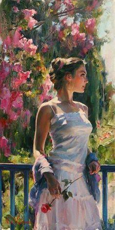 Dit portret is erg mooi en heel realistisch. De bruid is mooi gekleed en de achtergrond is ook erg mooi. Dit schilderij is ook weer heel mooi en strak in details geschilderd. -Michael and Inessa Garmash