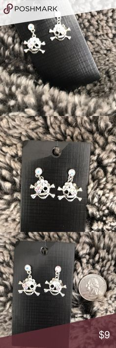 ARRRRGH!! 🌑Crystal pirate earrings🌑 EXQUISITE iridescent Austrian crystal pirate earrings✨ bought these from a darling boutique in Dallas; only wore these babies for 1 occasion many, many moons ago.🌑🌙✨All stones intact & very sparkly; nickel free. Jewelry Earrings