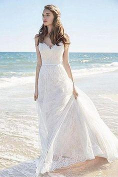 Chic Lace Beach Spaghetti Straps Long Wedding Dresses WD129