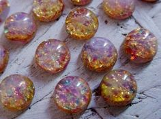 18 7mm Fire Opal Cabochons Amber Pink Green by VintageBrassShop