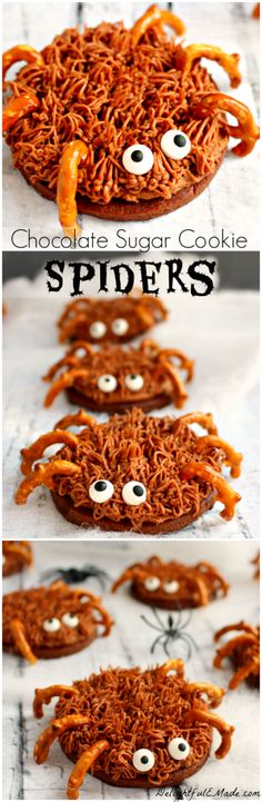 The perfect treat for your next Fall or Halloween Party! Made with chocolate sugar cookies, pretzel legs and candy eyes, they& scary delicious! Halloween Food For Party, Halloween Desserts, Halloween Treats, Healthy Halloween, Halloween Recipe, Homemade Halloween, Halloween Stuff, Fall Recipes, Halloween