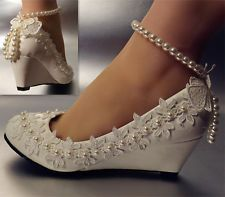 Lace white ivory crystal Wedding shoes Bride flats low high heel wedge size 5-12 in Clothing, Shoes & Accessories, Wedding & Formal Occasion, Bridal Shoes   eBay