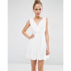 ASOS Pleated Mini Skater Dress With Embellished Waist (420 CNY) ❤ liked on Polyvore featuring dresses, white, white embellished dress, v-neck dresses, pleated dresses, white midi dress and midi dresses