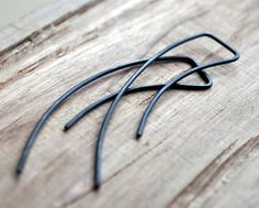 Black Oxidised Streamlined Earrings. Simple Sterling by Epheriell, $35.00