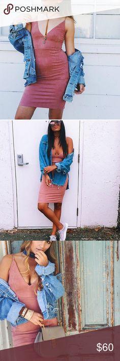 Pink suede tight dress NWT LF Dresses Midi