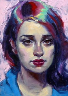 """Polychrome"" by John Larriva. 7 x 5 inches, oil on hardboard."