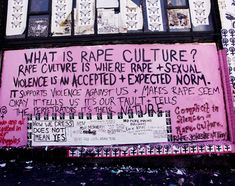 What is rape culture? Rape culture is where rape & sexual violence is an accepted & expected norm. It supports violence against us & makes rape seem okay. It tells us it's our fault & tells the perpetrators it's their nature. Complicity in silence = rape culture. Rape jokes are not funny. How we dress does not mean yes.