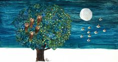 """""""The Art of Eric Carle: Night"""" celebrates Carle's storybook colleges of stars, moons and deep blue backgrounds. Fun Places To Go, Eric Carle, Blue Backgrounds, Deep Blue, New England, Museum, Colleges, Night, Illustration"""