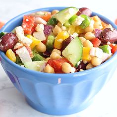 This simple and easy Chopped Greek Chickpea Salad recipe takes less than 20 minutes to throw together. Packed with mediterranean flavors, chickpeas, tomatoes, b Greek Chickpea Salad, Chickpea Salad Recipes, Greek Salad Recipes, Healthy Salad Recipes, Vegetarian Recipes, Recipes With Chickpeas, Clean Eating, Healthy Eating, Mediterranean Diet Recipes
