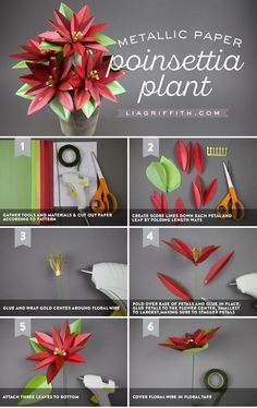 Paper Poinsettia Plant - Lia Griffith - www.liagriffith.com #spons @paperpaperscom #diyholiday #diychristmas #diyinspiration #paperflower #paperflowers #paperart #papercut #madewithlia