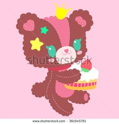 Cute little teddy bear with a sweet cake in hand. Perfect for Valentine's Day, baby design, or a friendly greeting.