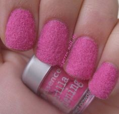 Pink furry nails
