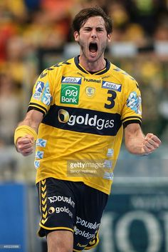 <a gi-track='captionPersonalityLinkClicked' href='/galleries/personality/697757' ng-click='$event.stopPropagation()'>Uwe Gensheimer</a> of Rhein-Neckar Loewen celebrates a goal during the DHB cup quarter final match between Rhein-Neckar Loewen and THW Kiel at SAP Arena on March 4, 2015 in Mannheim, Germany.