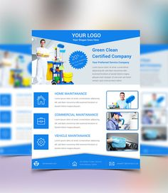 A New Free PSD Flyer Specially Designed For Cleaning Company Service But  You Can Use It In Different Industries. This Flyer Include 4 PSD Files With  Two Di